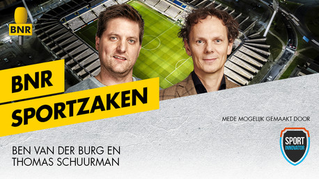 Poster met twee mannen over podcasts BNR Sportzaken